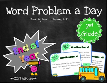 Word Problem a Day - 2nd Grade (End of Year)