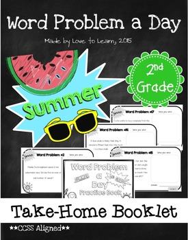 Word Problem a Day Summer Take-Home Booklet 2nd Grade