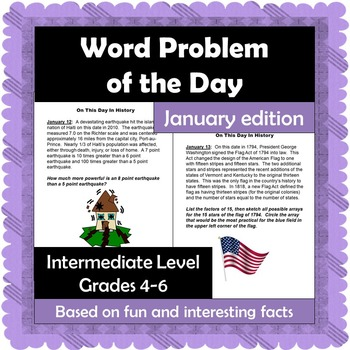 Word Problem of the Day - January - Intermediate Level