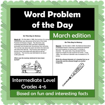 Word Problem of the Day - March - Intermediate Level