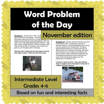 Word Problem of the Day - November - Intermediate Level