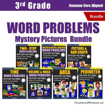 3rd Grade Math Word Problems - 3rd Grade Mystery Pictures Bundle