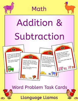 Word Problems - Addition and Subtraction task cards - Farm theme