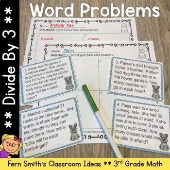 Word Problems 3rd Grade Divide By Three Printables, Task C