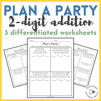 Word Problems- Adding tens and ones- On-level and Advanced