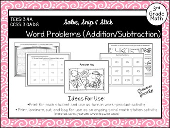 Word Problems (Addition/Subtraction): Solve Snip & Stick:
