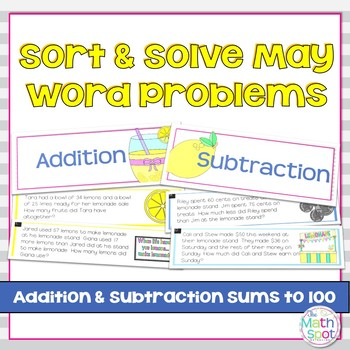 Addition and Subtraction Word Problem Sort: Lemonade Stand