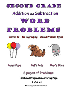 Word Problems: Addition and Subtraction within 40: Mixed w