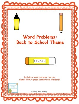 Word Problems: Back to School Theme (First Grade)