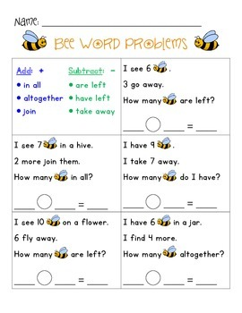 WORD PROBLEMS - Bee Theme