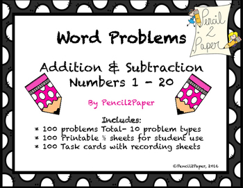 Word Problems BUNDLE- 100 word problems and task cards
