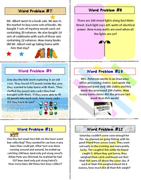 Word Problems FREE PREVIEW Task Cards Whole Numbers