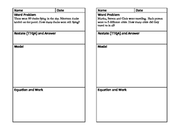Word Problems, Journal Size Template, Envision Topic 9