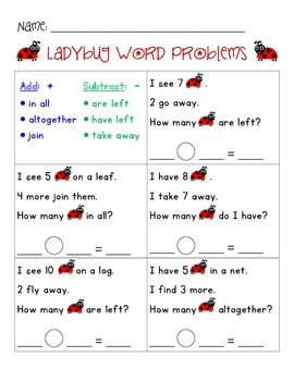 WORD PROBLEMS - Ladybug Theme