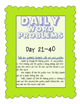 Word Problems Made Simple (days 21-40)