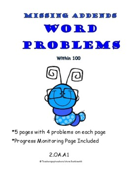 Word Problems: Missing Addends / Missing Parts: 2 digit nu