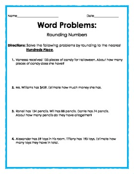 Word Problems: Rounding to the Nearest... by The Teacher Treasury ...