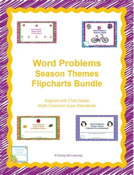 Word Problems: Season Themes Flipcharts Bundle (First Grade)