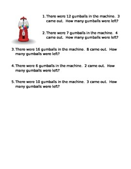 Word Problems- Subtraction
