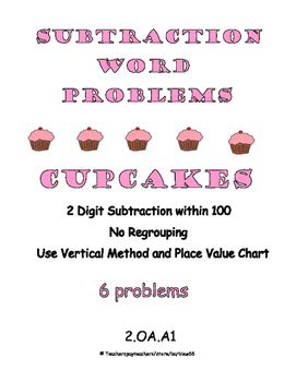 Word Problems: Subtraction with 2 digit numbers: No Regrouping