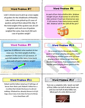 Word Problems Task Cards FREE PREVIEW (Fractions)