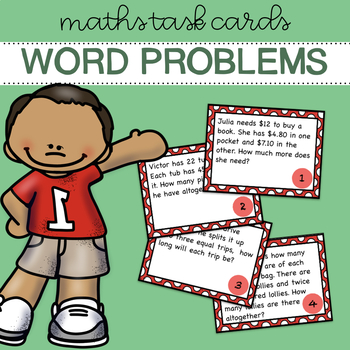 Word Problems Task Cards - Red Set