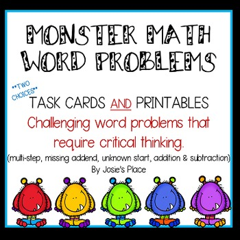 Word Problems -Task cards and printables