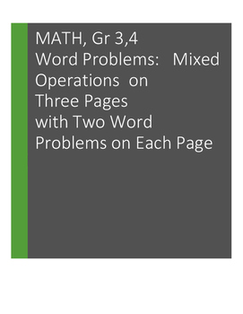 Word Problems: Using More Than One Operation. Grades 3, 4: