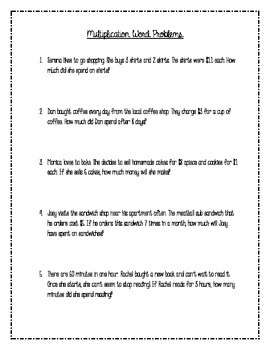 Word Problems Using Multiplication