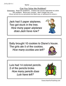 Word Problems Worksheet
