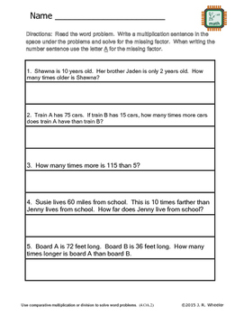 Word Problems to Equations - 4.OA.2