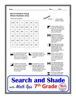 Word Problems using Whole Numbers Search and Shade