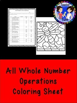 Word Problems with All Operations with Coloring Page