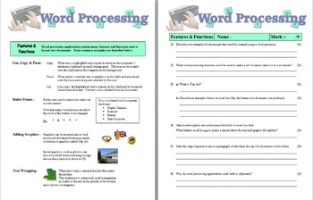 Word Processing Features & Functions - Homework/Class Cover
