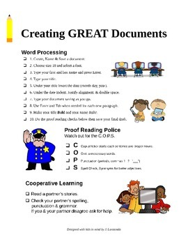 Word Processing & Proof Reading Checklist