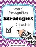 Word Recognition Strategies Checklists