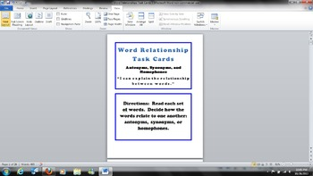 Word Relationships Task Cards - Antonyms, Synonyms, and Ho