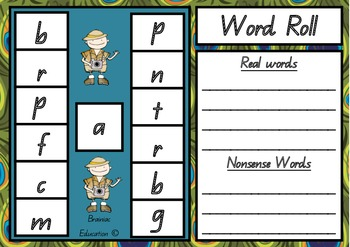 Word Roll Short Vowel Game Cards