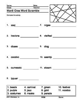 Word Scramble Printable Worksheet for Mardi Gras