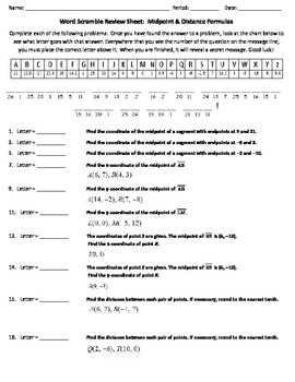 Word Scramble Review Worksheet - Midpoint & Distance Formulas