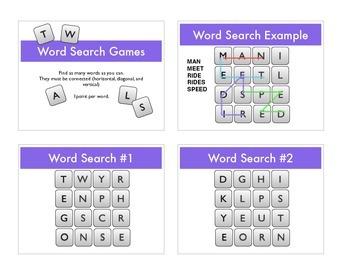 Word Search (Boggle) Warm Ups