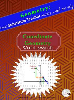 Word Search Coordinate Geometry Substitute Teacher Activit