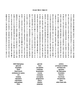 Word Search Covering Blood for Anatomy