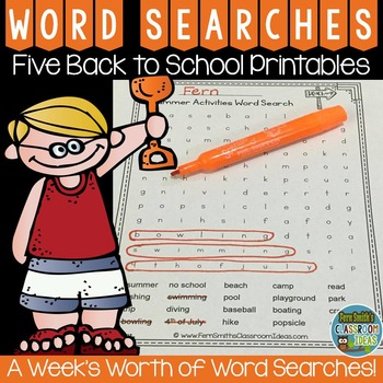 Word Search Five Summer Printables