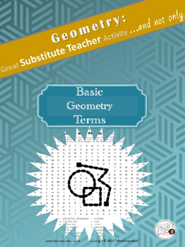 Word Search Geometry Basic Terms Substitute Teacher Activi