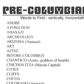 Word Search Pre-Columbia