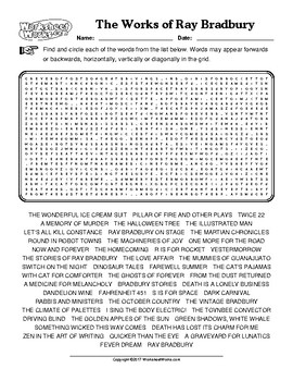 """""""The Works of Ray Bradbury"""" Word Search (Answer Key Included)"""