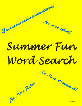 End of the Year Activities: Summer Fun Word Search