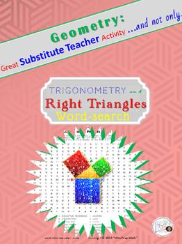 Word Search Trigonometry Right Triangles Substitute Teache