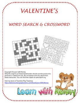 Valentine's Day Word Search and Crossword